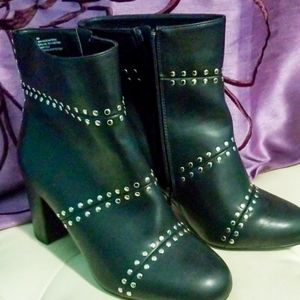 Studded Faux Leather Booties